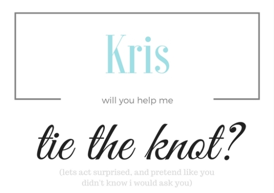 will you help me tie the knot-